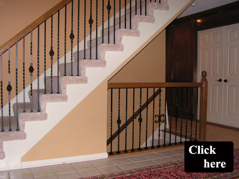 gallery of pics from an installation of satin black wrot iron balusters
