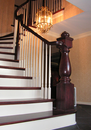 This Beautiful Staircase Was A Remodel In Which We Put In Oak Treads, Wood  Spindles, And The Most Distinctive Feature A Custom Turned Newel Post.