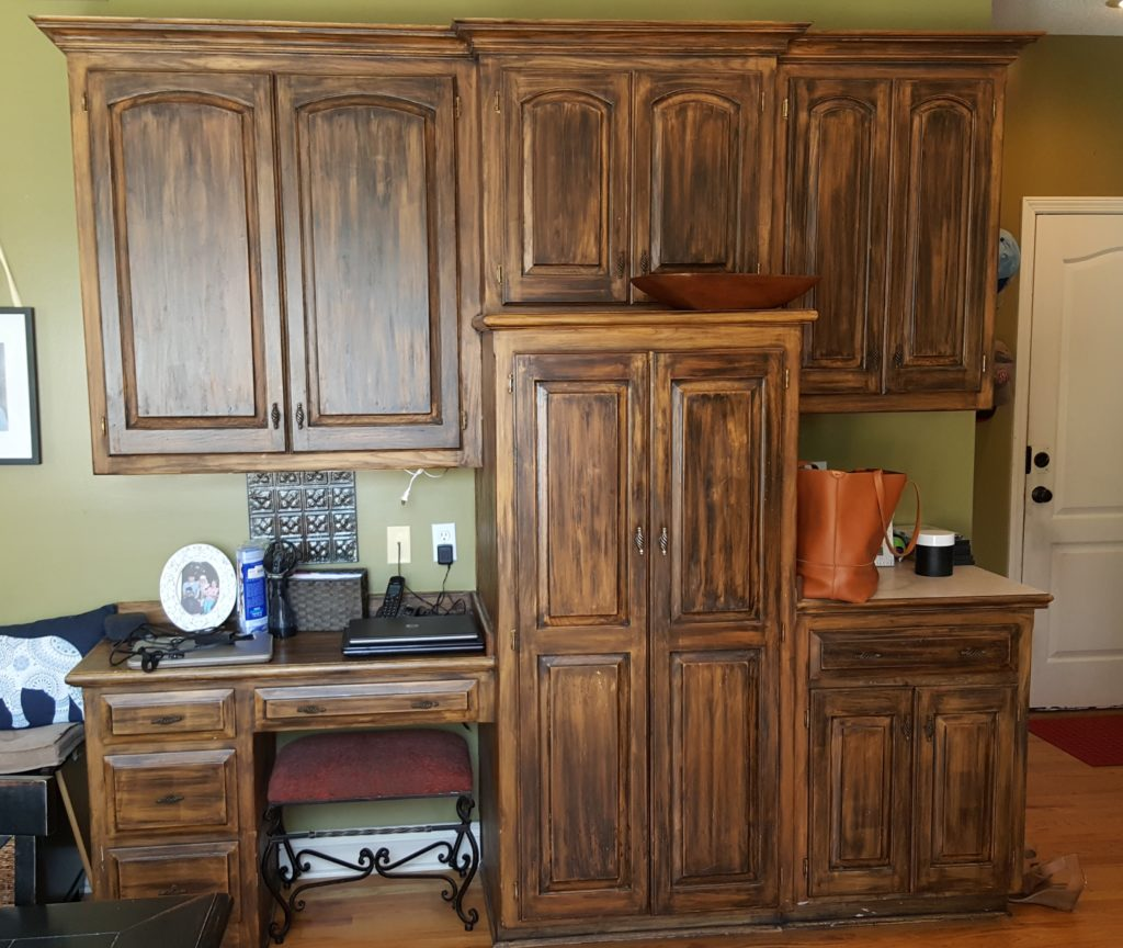 Kitchen Cabinetry Reface With New Island, Mud Bench